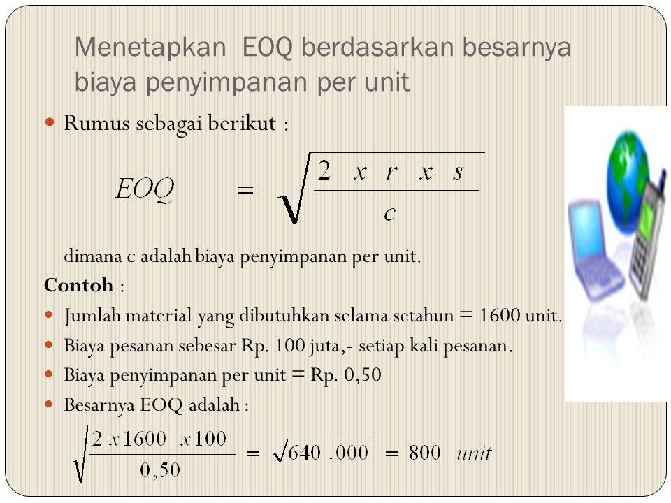 Menetapkan EOQ berdasarkan besarnya biaya penyimpanan per unit Rumus sebagai berikut : dimana c adalah biaya penyimpanan per unit. Contoh : Jumlah mat