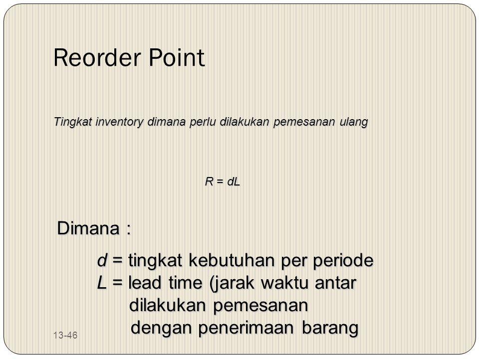 13-46 Reorder Point Tingkat inventory dimana perlu dilakukan pemesanan ulang R = dL Dimana : d = tingkat kebutuhan per periode L = lead time (jarak wa