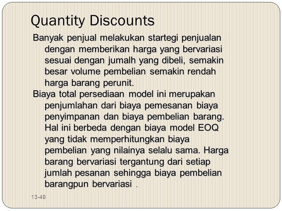 13-49 Quantity Discounts Banyak penjual melakukan startegi penjualan dengan memberikan harga yang bervariasi sesuai dengan jumalh yang dibeli, semakin