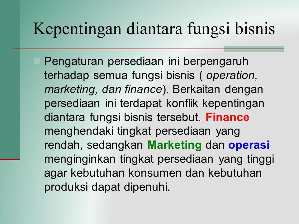 Kepentingan diantara fungsi bisnis Pengaturan persediaan ini berpengaruh terhadap semua fungsi bisnis ( operation, marketing, dan finance). Berkaitan