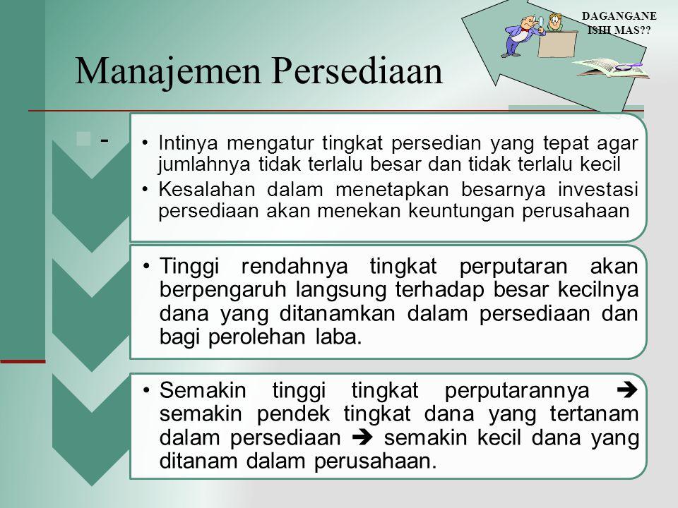 Manajemen Persediaan - DAGANGANE ISIH MAS?? Intinya mengatur tingkat persedian yang tepat agar jumlahnya tidak terlalu besar dan tidak terlalu kecil K