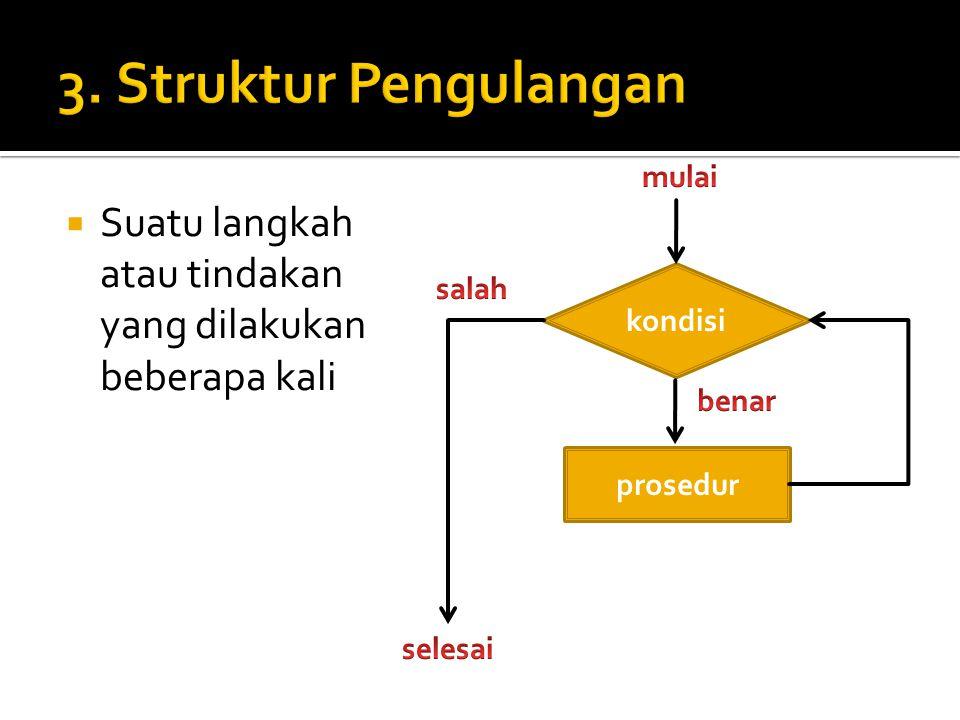  Suatu langkah atau tindakan yang dilakukan beberapa kali kondisi prosedur