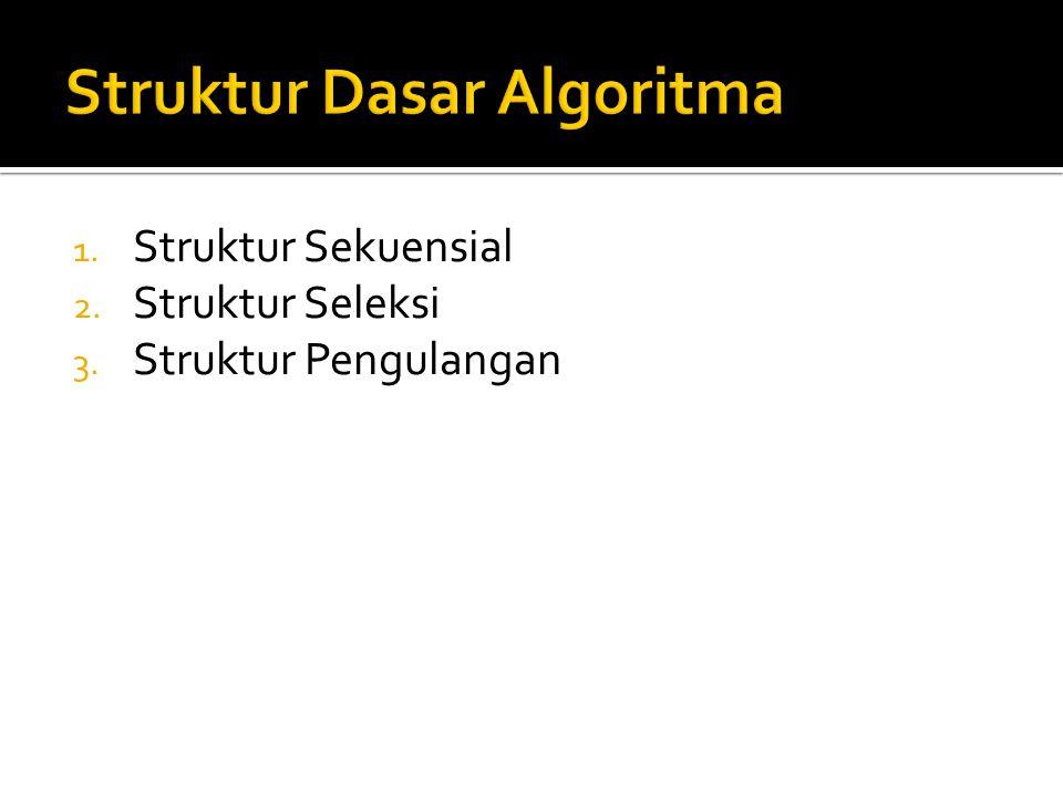 1. Struktur Sekuensial 2. Struktur Seleksi 3. Struktur Pengulangan