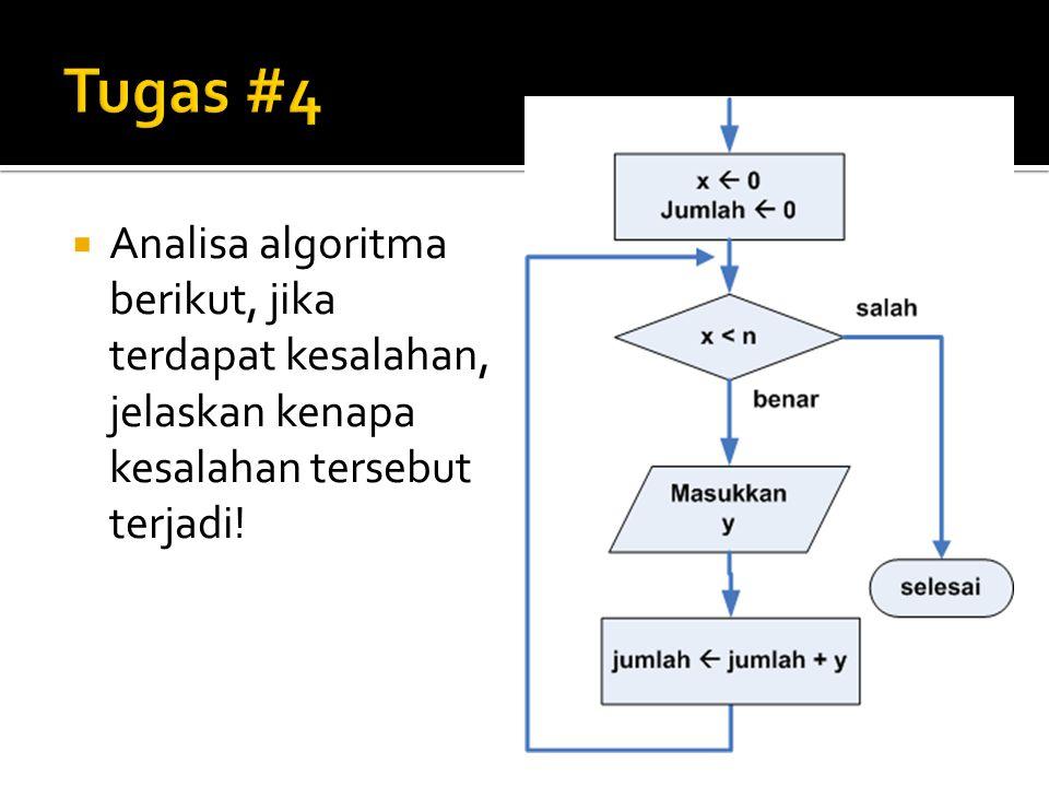  Analisa algoritma berikut, jika terdapat kesalahan, jelaskan kenapa kesalahan tersebut terjadi!