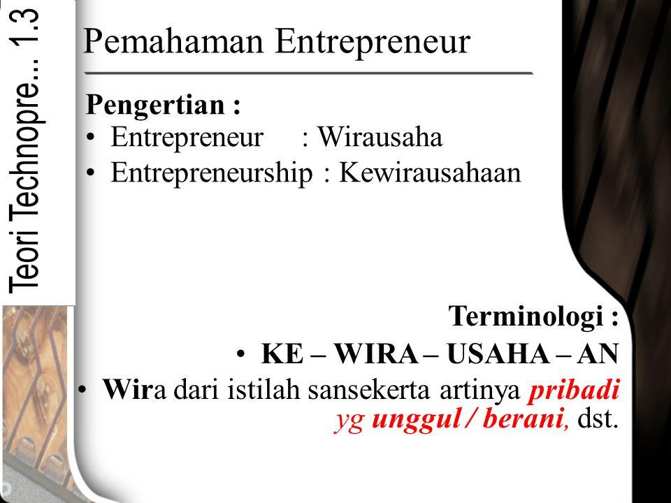 Pemahaman Entrepreneur Entrepreneur : Wirausaha Entrepreneurship : Kewirausahaan KE – WIRA – USAHA – AN Wira dari istilah sansekerta artinya pribadi y