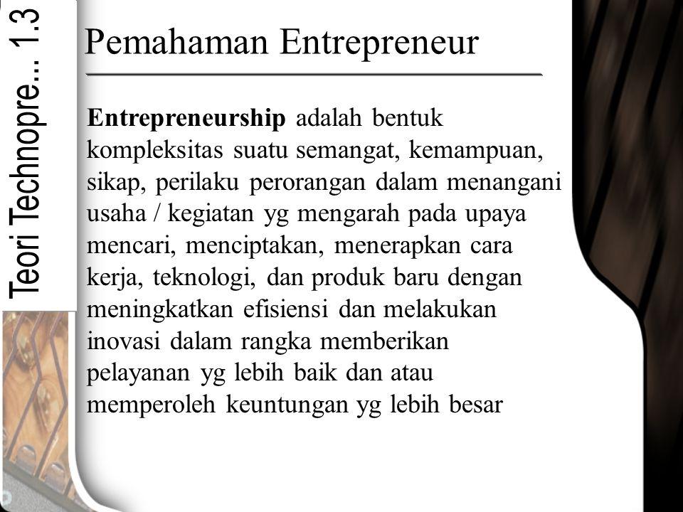 Pemahaman Entrepreneur Entrepreneurship adalah bentuk kompleksitas suatu semangat, kemampuan, sikap, perilaku perorangan dalam menangani usaha / kegia