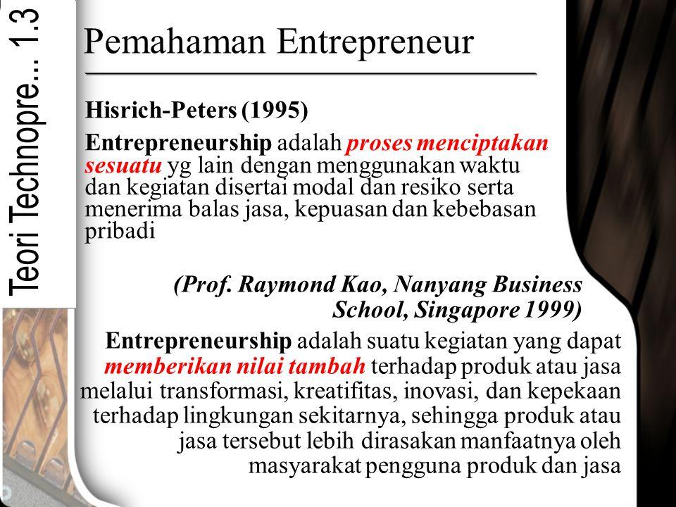 Pemahaman Entrepreneur Hisrich-Peters (1995) Entrepreneurship adalah proses menciptakan sesuatu yg lain dengan menggunakan waktu dan kegiatan disertai