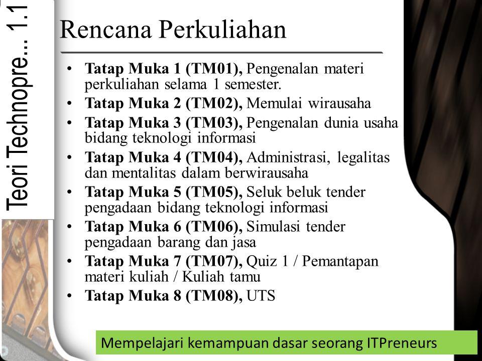 Rencana Perkuliahan Tatap Muka 1 (TM01), Pengenalan materi perkuliahan selama 1 semester. Tatap Muka 2 (TM02), Memulai wirausaha Tatap Muka 3 (TM03),