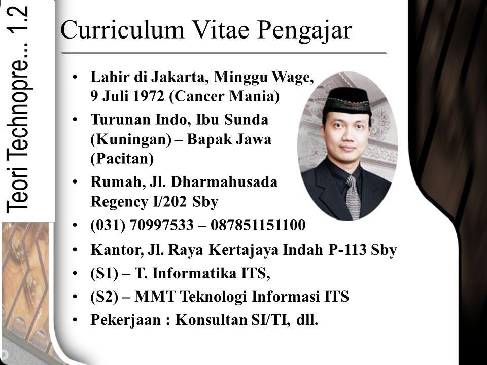 Curriculum Vitae Pengajar Lahir di Jakarta, Minggu Wage, 9 Juli 1972 (Cancer Mania) Turunan Indo, Ibu Sunda (Kuningan) – Bapak Jawa (Pacitan) Rumah, J