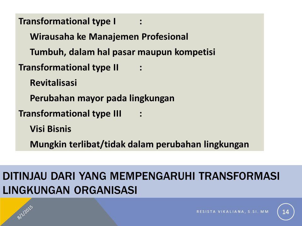 DITINJAU DARI YANG MEMPENGARUHI TRANSFORMASI LINGKUNGAN ORGANISASI Transformational type I: Wirausaha ke Manajemen Profesional Tumbuh, dalam hal pasar