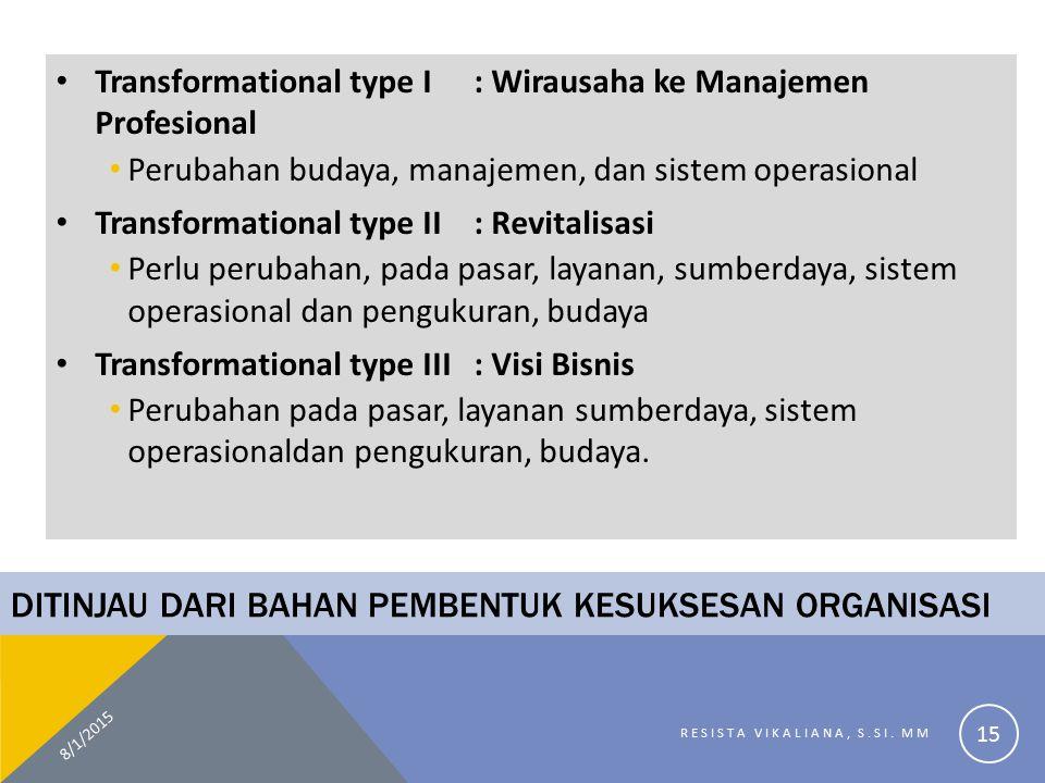 DITINJAU DARI BAHAN PEMBENTUK KESUKSESAN ORGANISASI Transformational type I: Wirausaha ke Manajemen Profesional Perubahan budaya, manajemen, dan siste