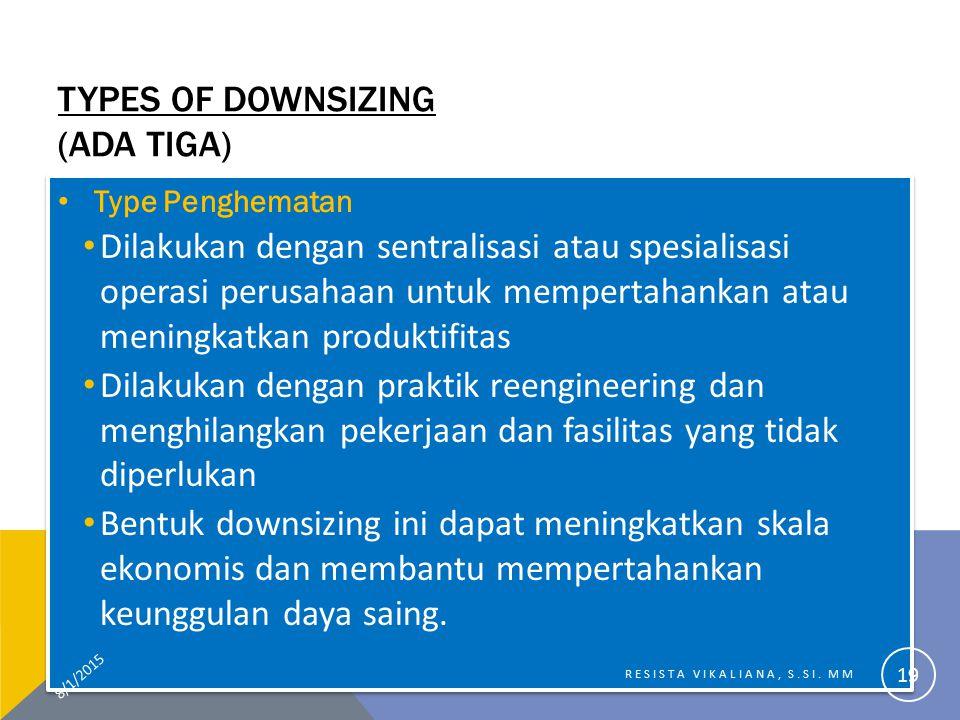 TYPES OF DOWNSIZING (ADA TIGA) Type Penghematan Dilakukan dengan sentralisasi atau spesialisasi operasi perusahaan untuk mempertahankan atau meningkat