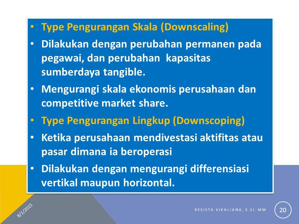 Type Pengurangan Skala (Downscaling) Dilakukan dengan perubahan permanen pada pegawai, dan perubahan kapasitas sumberdaya tangible. Mengurangi skala e