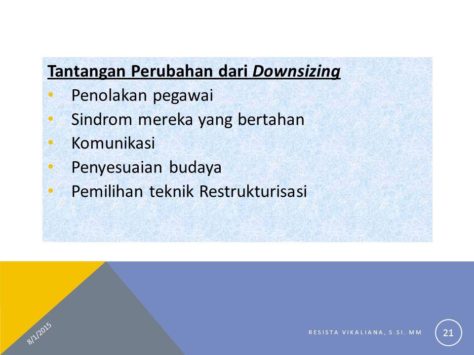 Tantangan Perubahan dari Downsizing Penolakan pegawai Sindrom mereka yang bertahan Komunikasi Penyesuaian budaya Pemilihan teknik Restrukturisasi 8/1/