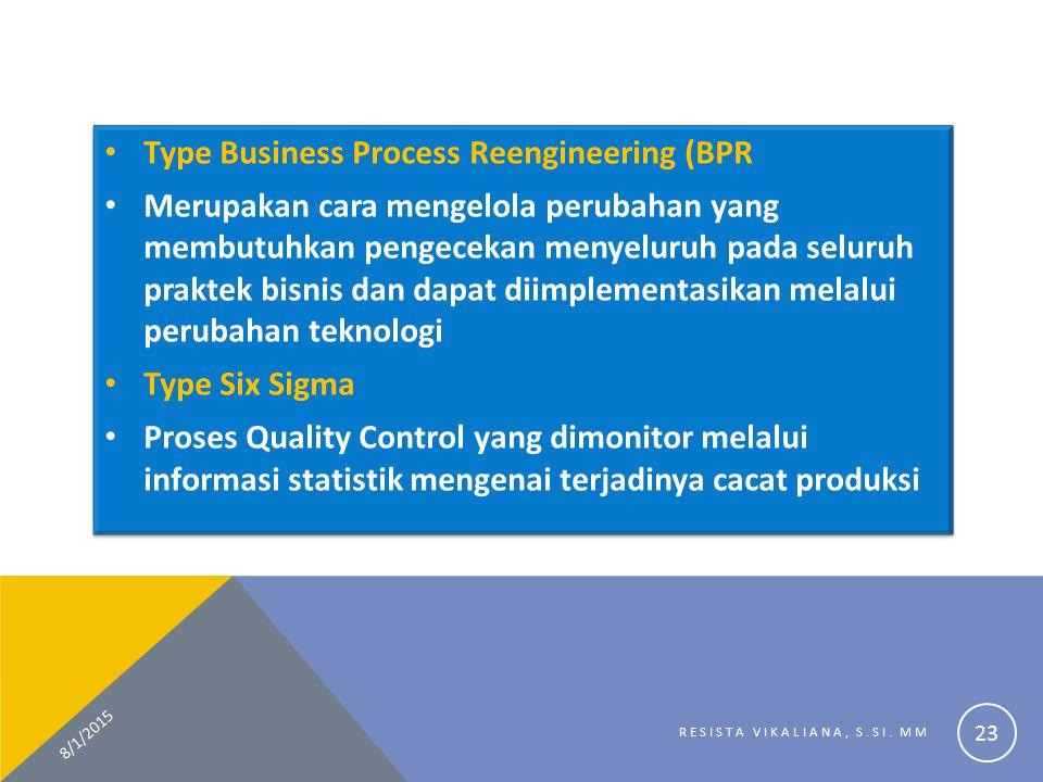 Type Business Process Reengineering (BPR Merupakan cara mengelola perubahan yang membutuhkan pengecekan menyeluruh pada seluruh praktek bisnis dan dap