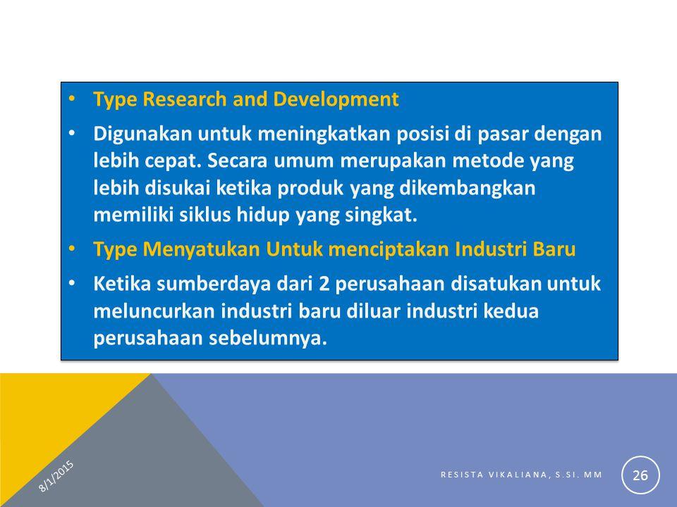 Type Research and Development Digunakan untuk meningkatkan posisi di pasar dengan lebih cepat. Secara umum merupakan metode yang lebih disukai ketika