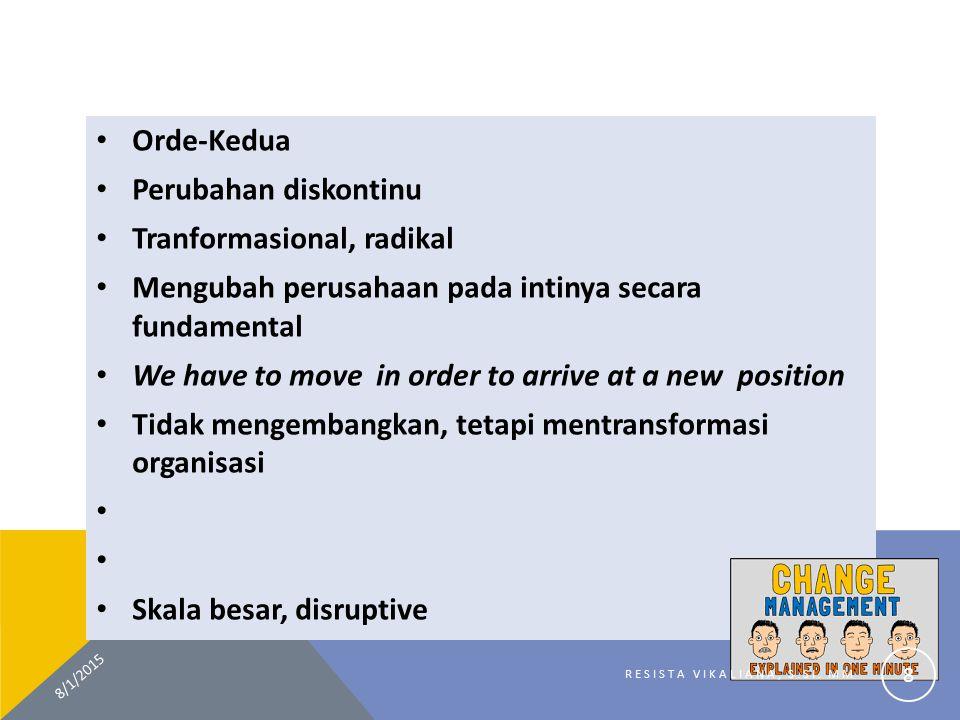 Orde-Kedua Perubahan diskontinu Tranformasional, radikal Mengubah perusahaan pada intinya secara fundamental We have to move in order to arrive at a n