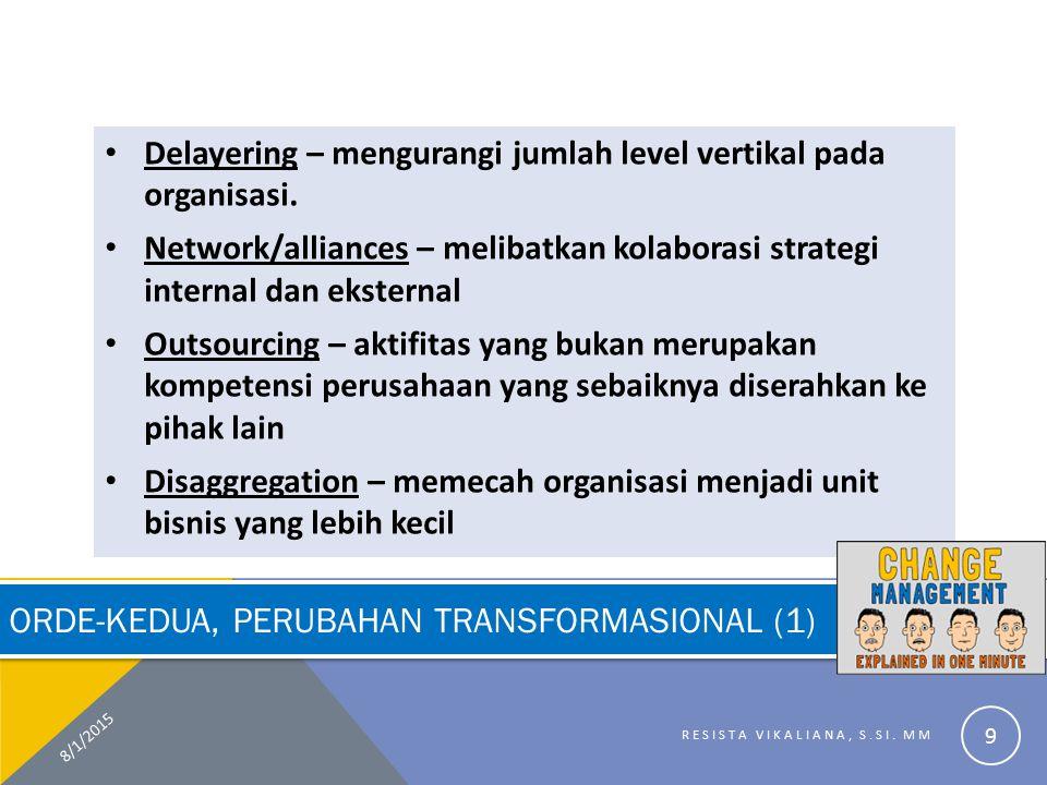 ORDE-KEDUA, PERUBAHAN TRANSFORMASIONAL (1) Delayering – mengurangi jumlah level vertikal pada organisasi. Network/alliances – melibatkan kolaborasi st