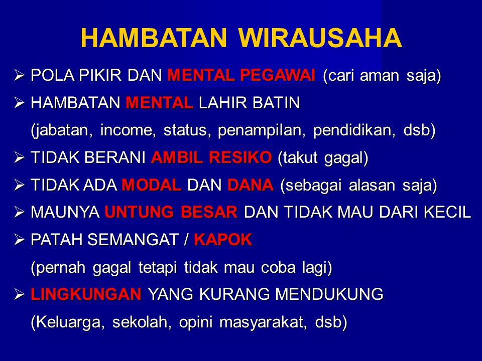  POLA PIKIR DAN MENTAL PEGAWAI (cari aman saja)  HAMBATAN MENTAL LAHIR BATIN (jabatan, income, status, penampilan, pendidikan, dsb)  TIDAK BERANI A