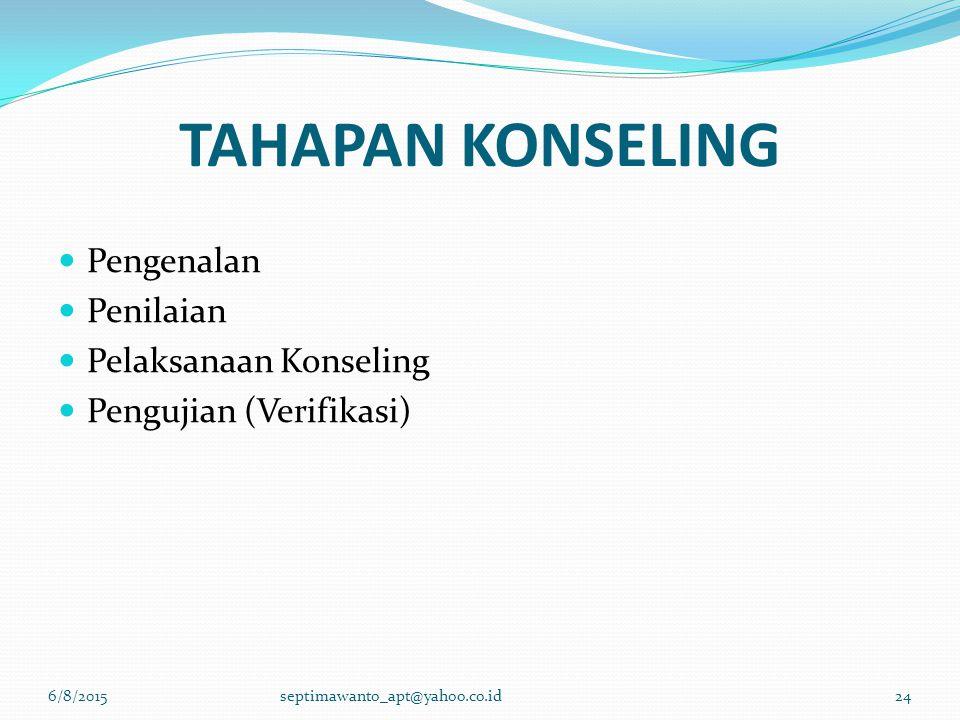 TAHAPAN KONSELING 6/8/2015septimawanto_apt@yahoo.co.id24 Pengenalan Penilaian Pelaksanaan Konseling Pengujian (Verifikasi)