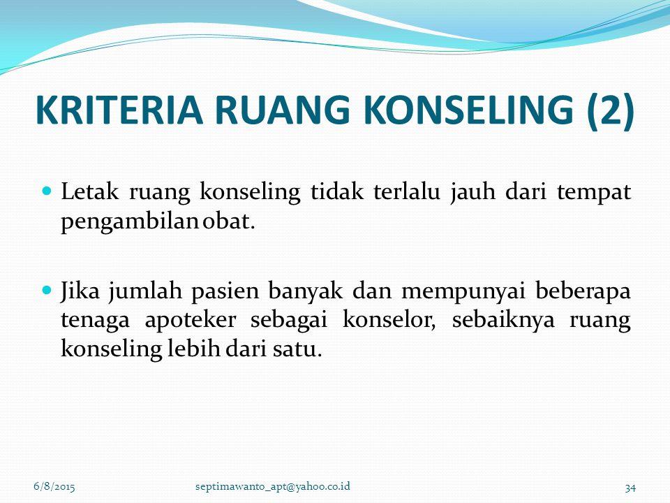 KRITERIA RUANG KONSELING (2) Letak ruang konseling tidak terlalu jauh dari tempat pengambilan obat. Jika jumlah pasien banyak dan mempunyai beberapa t