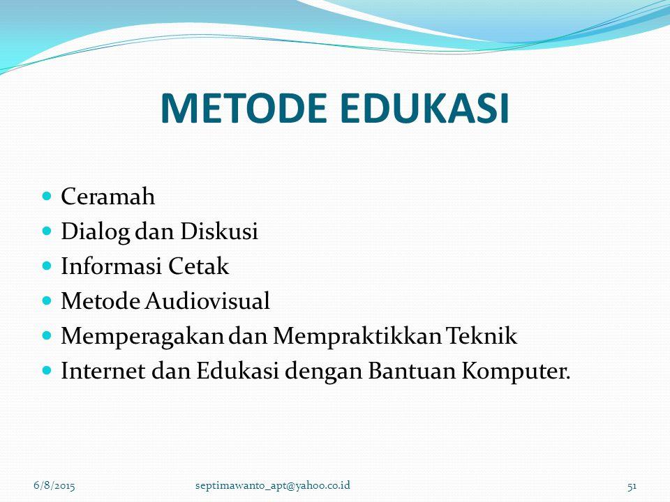METODE EDUKASI Ceramah Dialog dan Diskusi Informasi Cetak Metode Audiovisual Memperagakan dan Mempraktikkan Teknik Internet dan Edukasi dengan Bantuan