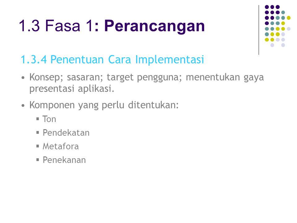 1.3 Fasa 1: Perancangan 1.3.4 Penentuan Cara Implementasi Konsep; sasaran; target pengguna; menentukan gaya presentasi aplikasi. Komponen yang perlu d