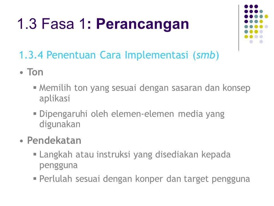 1.3 Fasa 1: Perancangan 1.3.4 Penentuan Cara Implementasi (smb) Ton  Memilih ton yang sesuai dengan sasaran dan konsep aplikasi  Dipengaruhi oleh el
