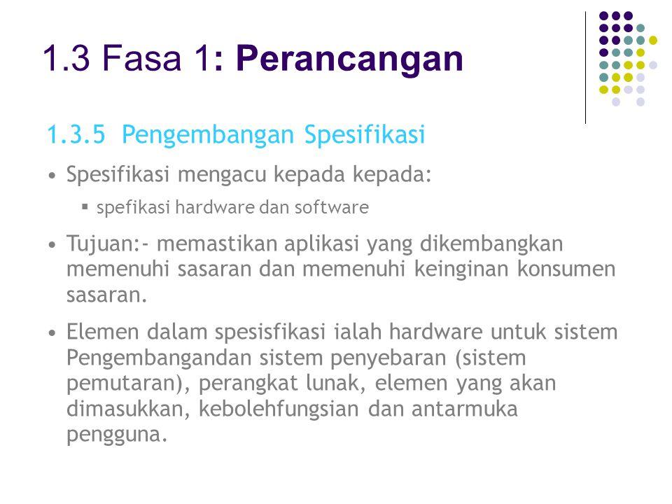 1.3 Fasa 1: Perancangan 1.3.5 Pengembangan Spesifikasi Spesifikasi mengacu kepada kepada:  spefikasi hardware dan software Tujuan:- memastikan aplika