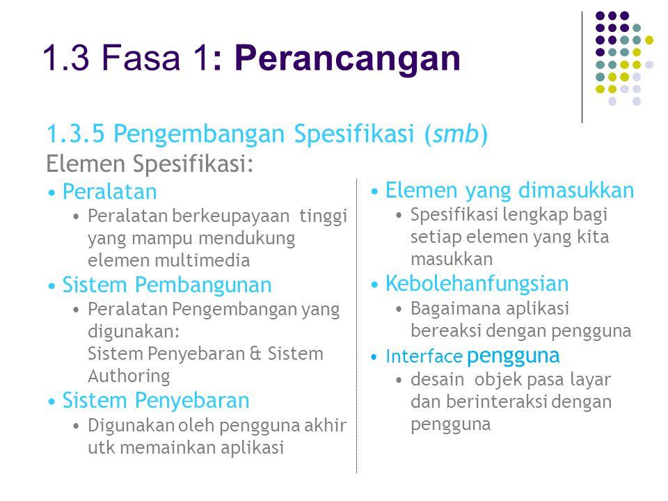 1.3 Fasa 1: Perancangan 1.3.5 Pengembangan Spesifikasi (smb) Elemen Spesifikasi: Peralatan Peralatan berkeupayaan tinggi yang mampu mendukung elemen m