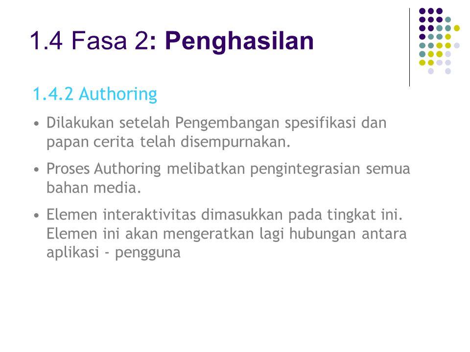 1.4 Fasa 2: Penghasilan 1.4.2 Authoring Dilakukan setelah Pengembangan spesifikasi dan papan cerita telah disempurnakan. Proses Authoring melibatkan p