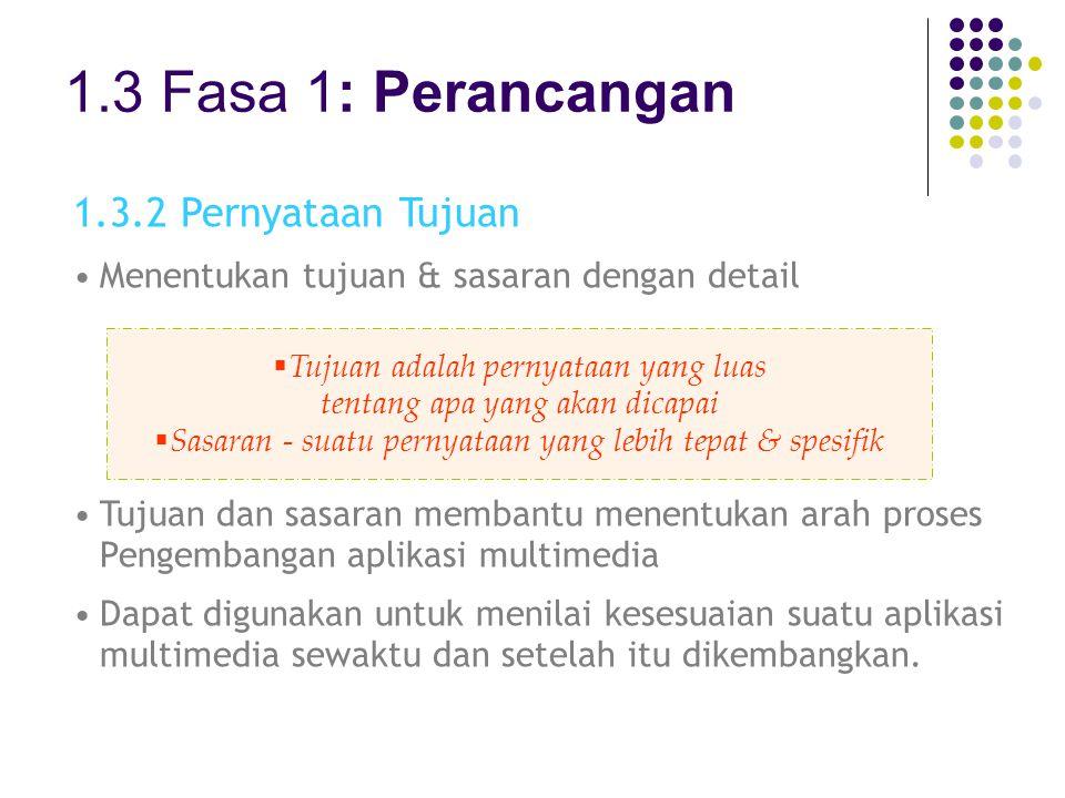 1.3 Fasa 1: Perancangan 1.3.2 Pernyataan Tujuan Menentukan tujuan & sasaran dengan detail Tujuan dan sasaran membantu menentukan arah proses Pengemban