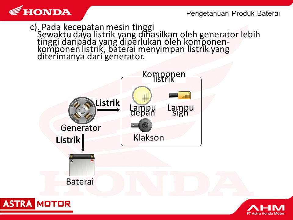 Pengetahuan Produk Baterai c). Pada kecepatan mesin tinggi Sewaktu daya listrik yang dihasilkan oleh generator lebih tinggi daripada yang diperlukan o