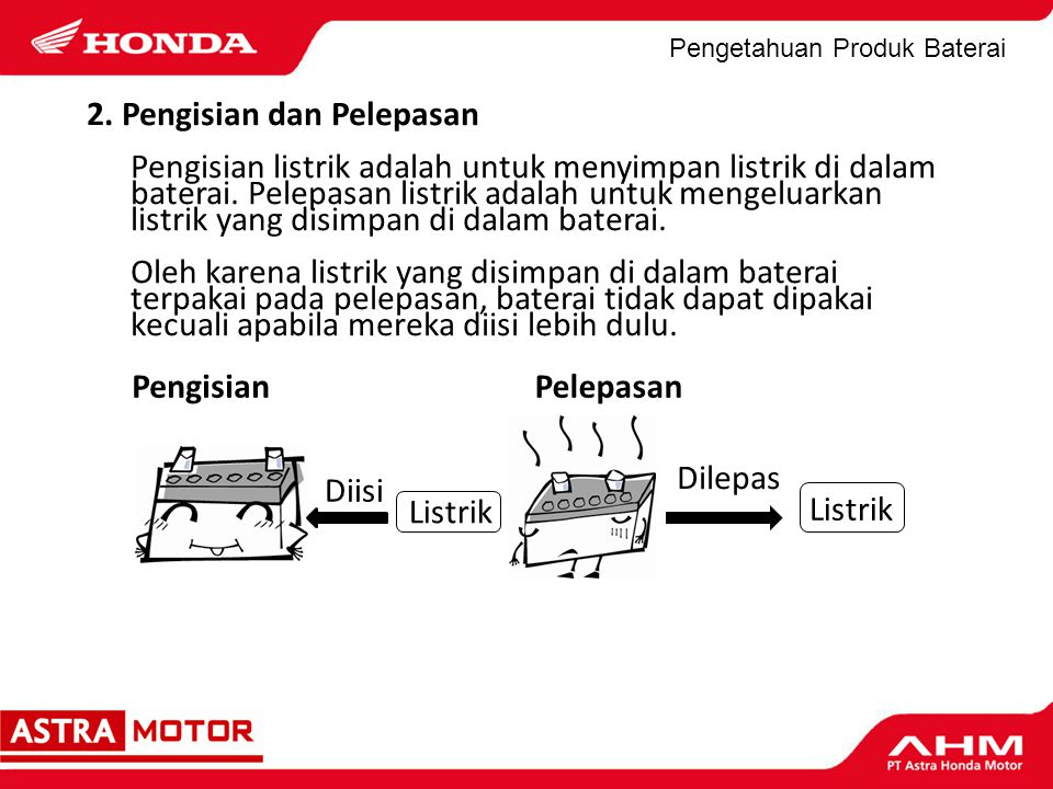 Pengetahuan Produk Baterai *Lihat panduan baterai atau stiker informasi pada baterai untuk memutuskan voltase apakah penyetruman (charging) diperlukan atau tidak sebelum digunakan.