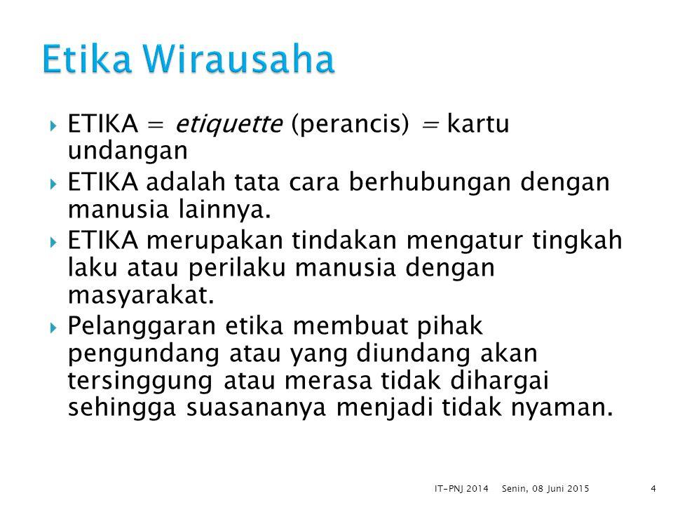  ETIKA = etiquette (perancis) = kartu undangan  ETIKA adalah tata cara berhubungan dengan manusia lainnya.