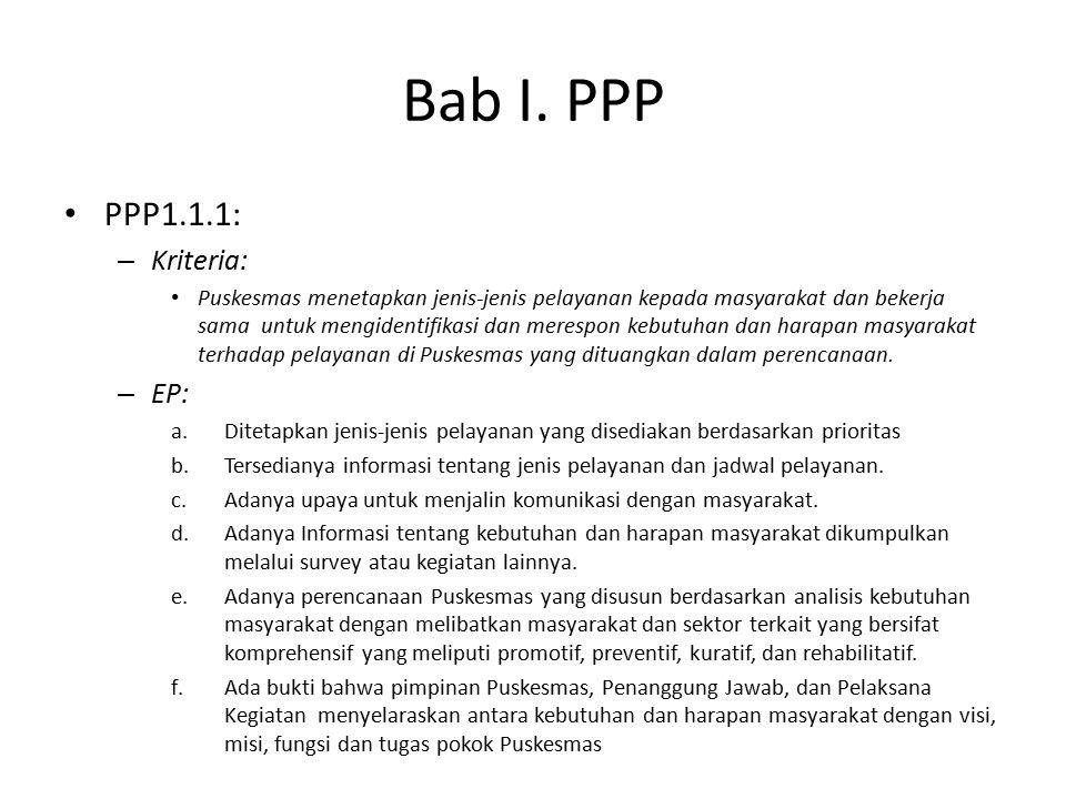 Bab I. PPP PPP1.1.1: – Kriteria: Puskesmas menetapkan jenis-jenis pelayanan kepada masyarakat dan bekerja sama untuk mengidentifikasi dan merespon keb