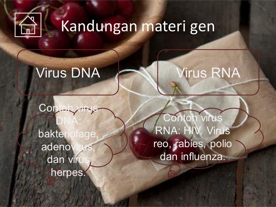 Kandungan materi gen Virus DNAVirus RNA Contoh virus DNA: bakteriofage, adenovirus, dan virus herpes. Contoh virus RNA: HIV. Virus reo, rabies, polio