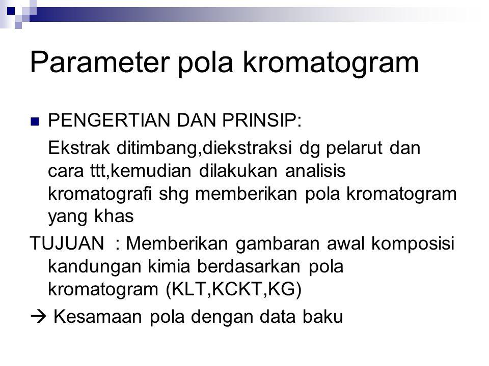 Parameter pola kromatogram PENGERTIAN DAN PRINSIP: Ekstrak ditimbang,diekstraksi dg pelarut dan cara ttt,kemudian dilakukan analisis kromatografi shg