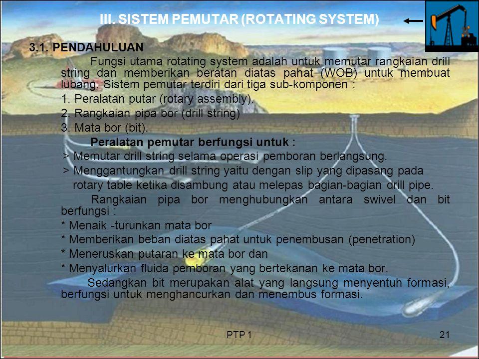 PTP 121 III. SISTEM PEMUTAR (ROTATING SYSTEM) 3.1. PENDAHULUAN Fungsi utama rotating system adalah untuk memutar rangkaian drill string dan memberikan
