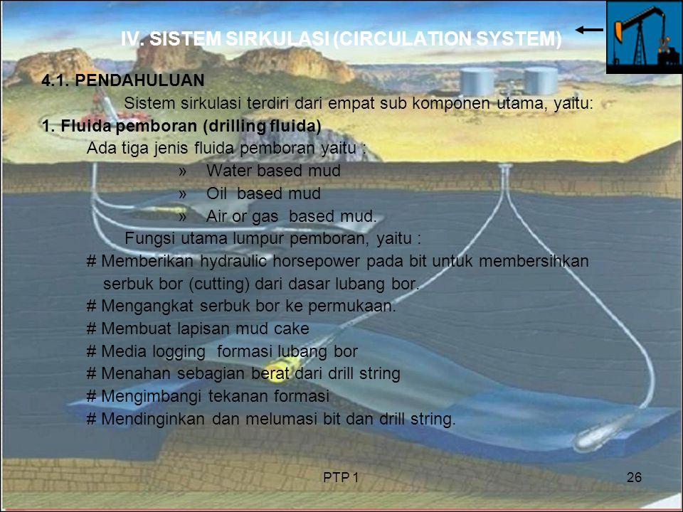 PTP 126 IV. SISTEM SIRKULASI (CIRCULATION SYSTEM) 4.1. PENDAHULUAN Sistem sirkulasi terdiri dari empat sub komponen utama, yaitu: 1. Fluida pemboran (