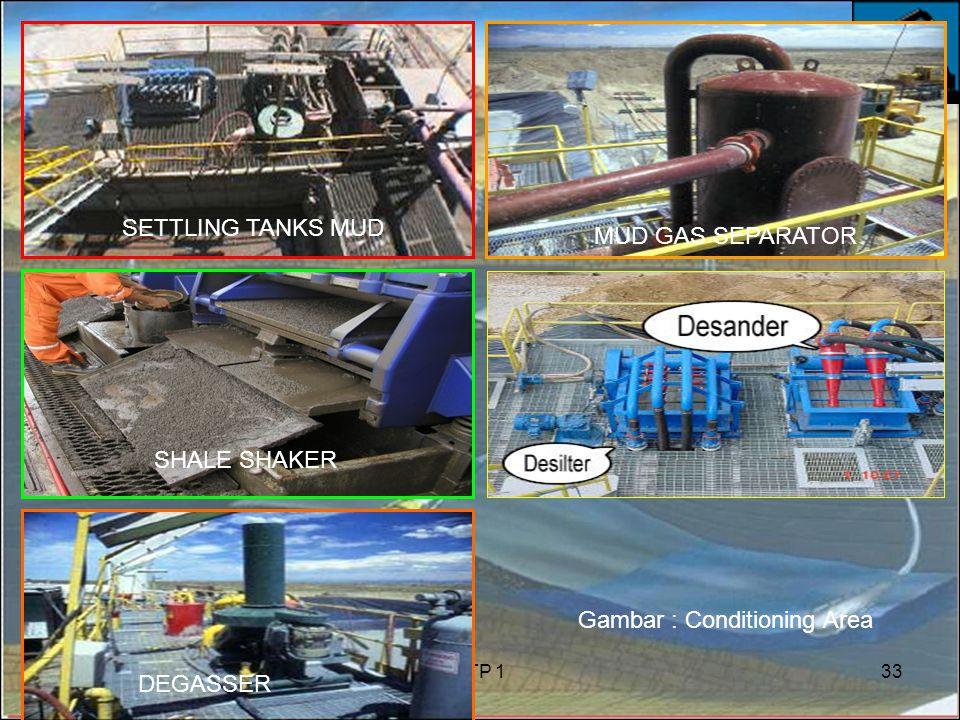 6/8/2015PTP 133 SETTLING TANKS MUD SHALE SHAKER MUD GAS SEPARATOR DEGASSER Gambar : Conditioning Area