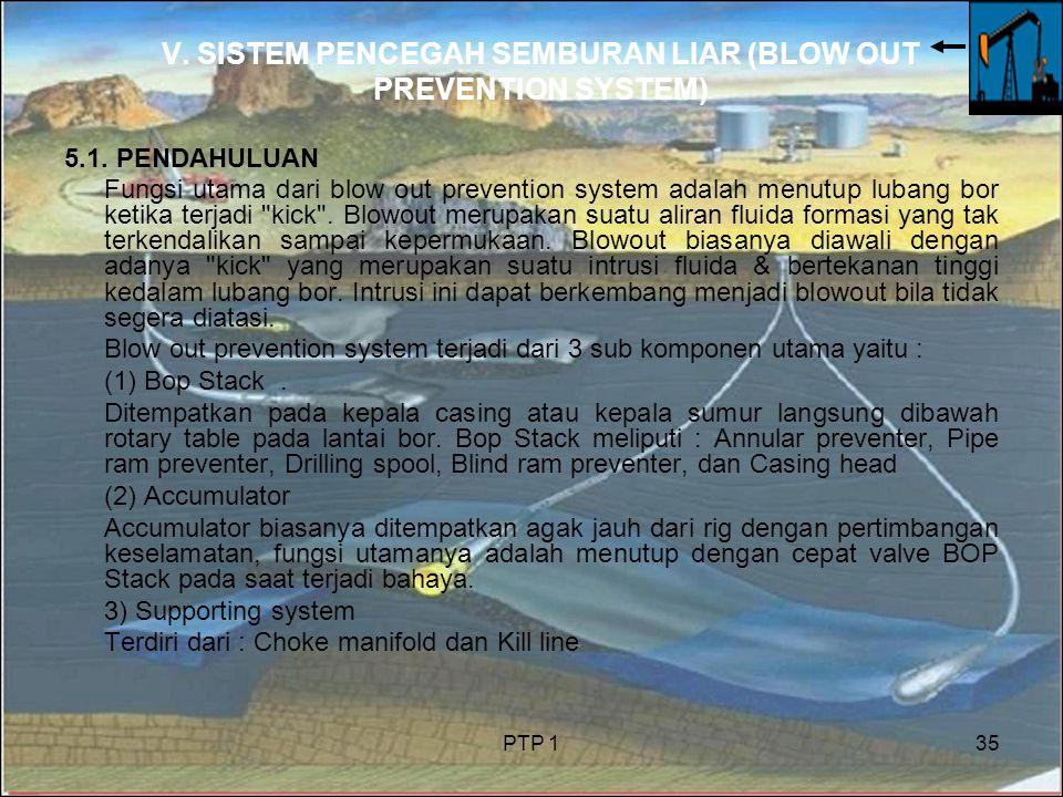 PTP 135 V. SISTEM PENCEGAH SEMBURAN LIAR (BLOW OUT PREVENTION SYSTEM) 5.1. PENDAHULUAN Fungsi utama dari blow out prevention system adalah menutup lub