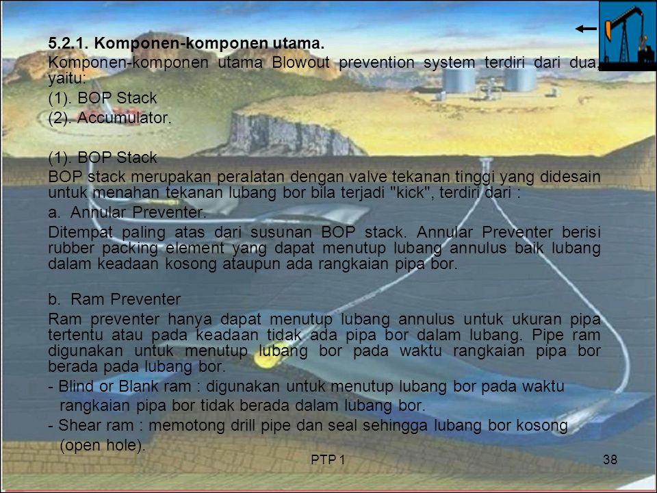 PTP 138 5.2.1. Komponen-komponen utama. Komponen-komponen utama Blowout prevention system terdiri dari dua, yaitu: (1). BOP Stack (2). Accumulator. (1