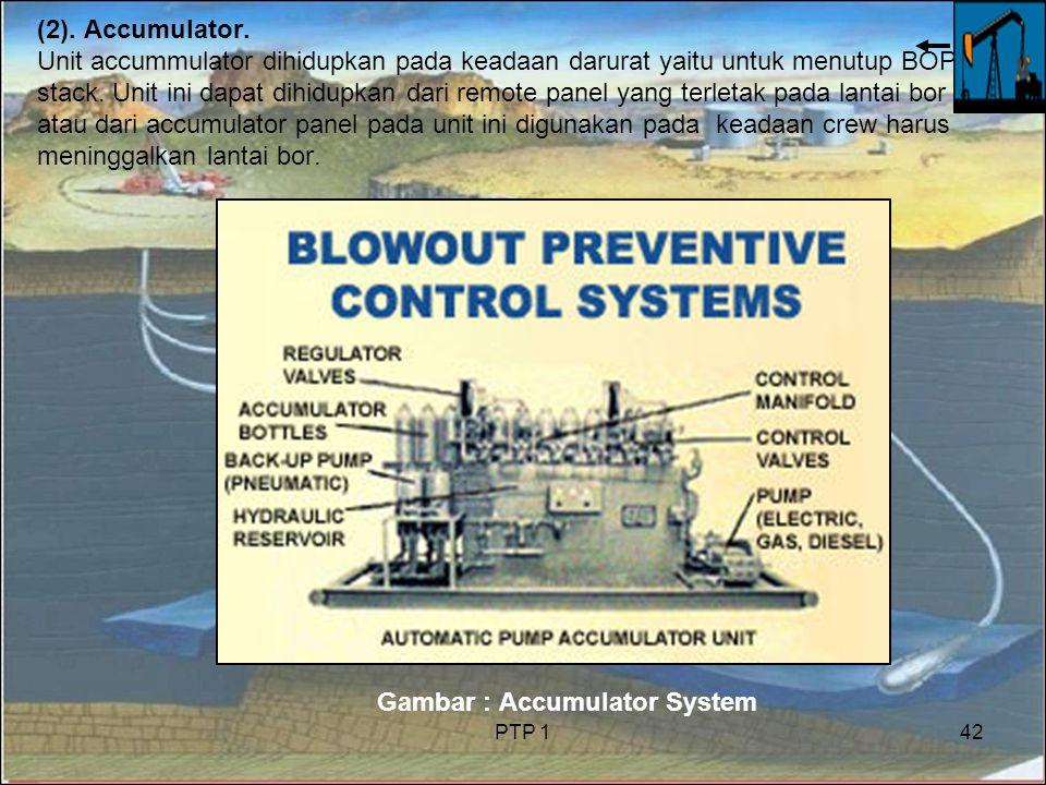 PTP 142 (2). Accumulator. Unit accummulator dihidupkan pada keadaan darurat yaitu untuk menutup BOP stack. Unit ini dapat dihidupkan dari remote panel