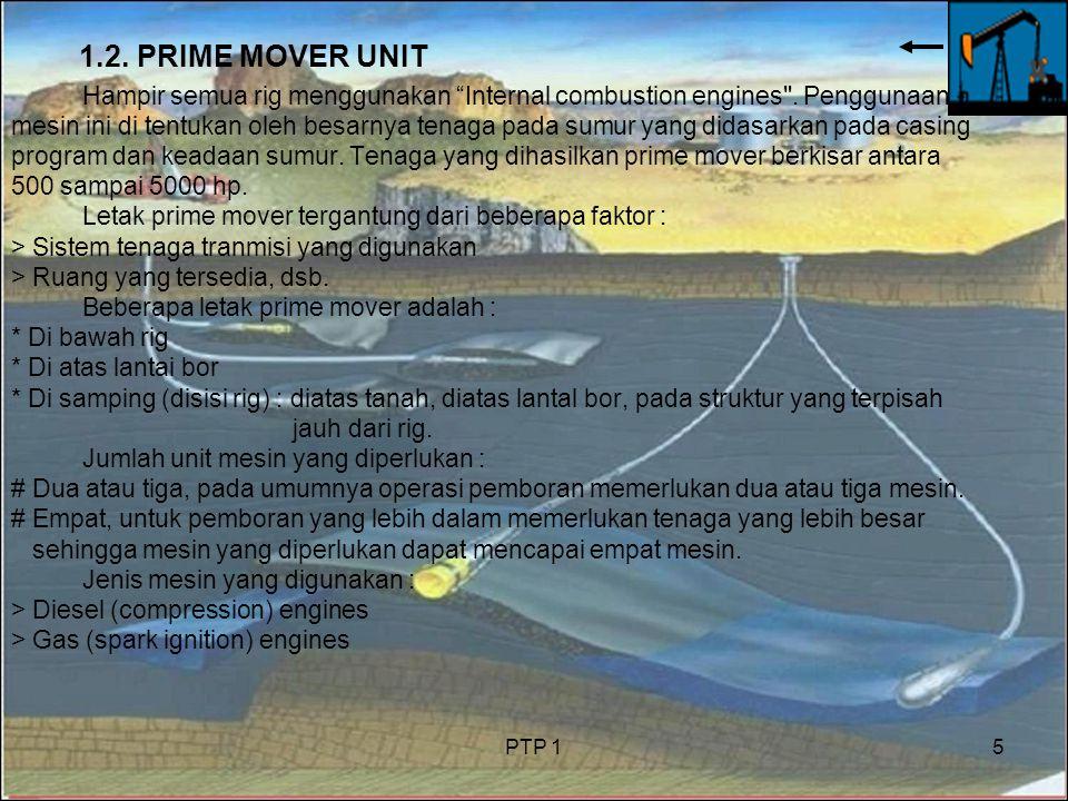 PTP 15 1.2.PRIME MOVER UNIT Hampir semua rig menggunakan Internal combustion engines .