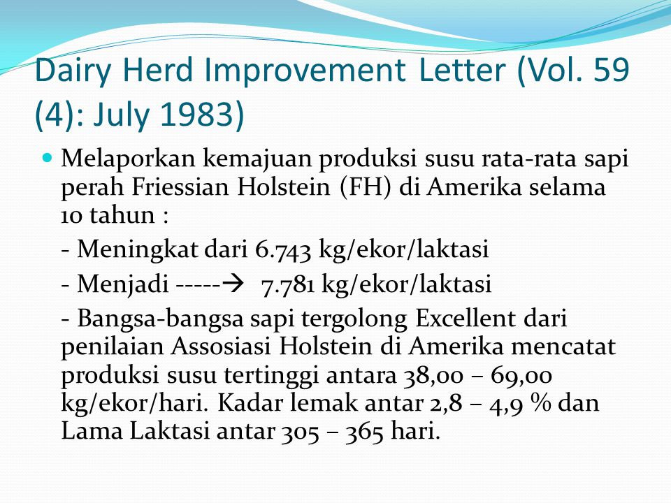 Dairy Herd Improvement Letter (Vol.