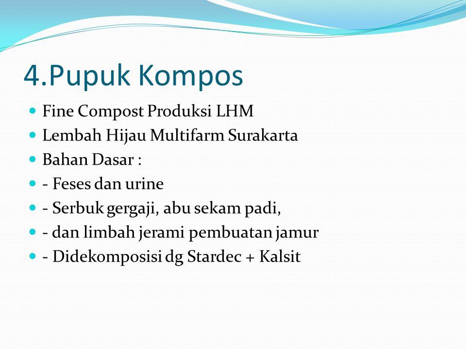 4.Pupuk Kompos Fine Compost Produksi LHM Lembah Hijau Multifarm Surakarta Bahan Dasar : - Feses dan urine - Serbuk gergaji, abu sekam padi, - dan limb