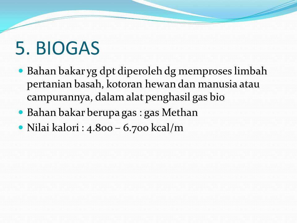 5. BIOGAS Bahan bakar yg dpt diperoleh dg memproses limbah pertanian basah, kotoran hewan dan manusia atau campurannya, dalam alat penghasil gas bio B