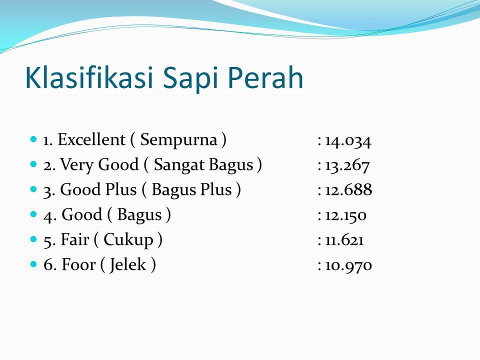 Klasifikasi Sapi Perah 1. Excellent ( Sempurna ): 14.034 2. Very Good ( Sangat Bagus ): 13.267 3. Good Plus ( Bagus Plus ): 12.688 4. Good ( Bagus ):