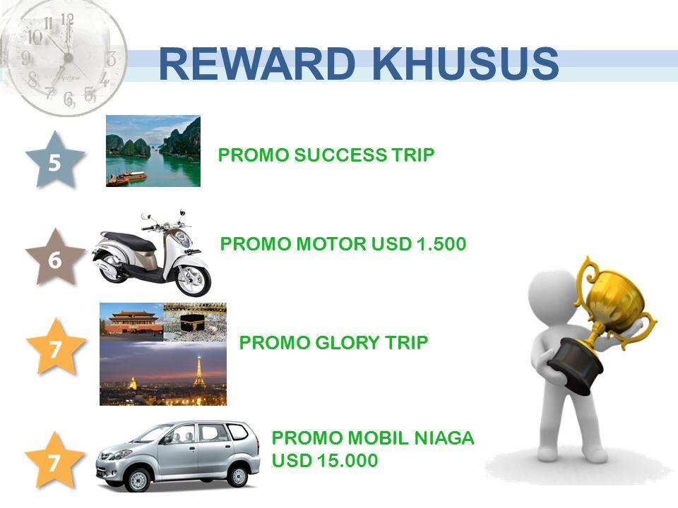 PROMO MOTOR USD 1.500 PROMO SUCCESS TRIP PROMO MOBIL NIAGA USD 15.000 REWARD KHUSUS PROMO GLORY TRIP